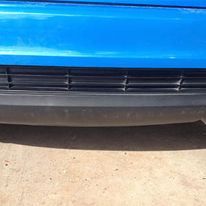 After paintless dent repair of rear bumper